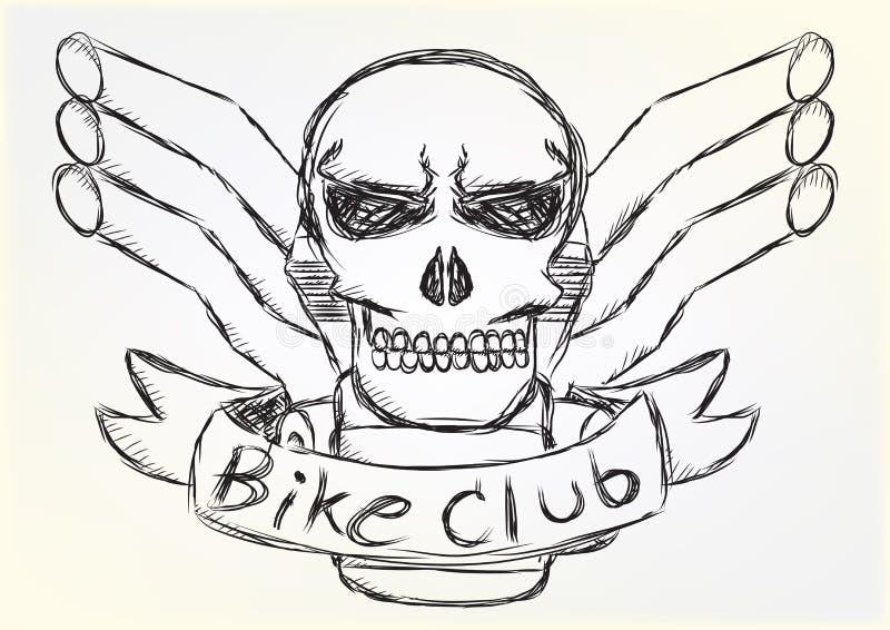 Style de croquis de conception de crâne de correction de moto illustration libre de droits