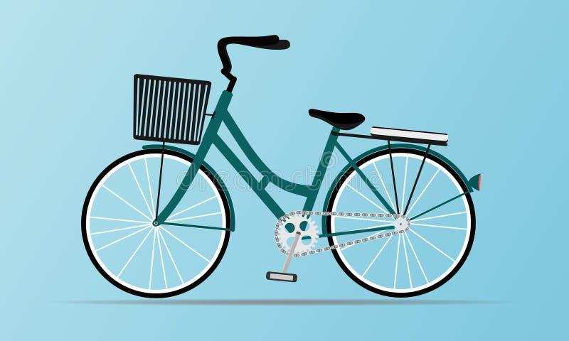 Style de cru et moderne de la bicyclette de ville avec le panier Pour des femmes beau et mignon d'isolement sur le fond bleu mou  illustration stock