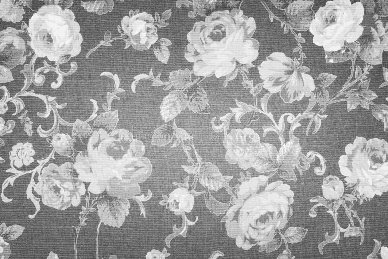 Style de cru de fond gris de modèle de tissu de fleurs de tapisserie illustration de vecteur