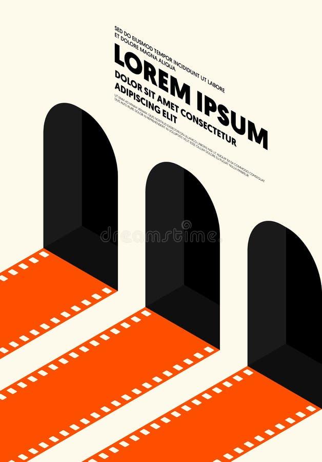 Style de cru moderne d'affiche de film et de film r?tro illustration stock