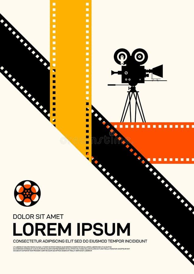 Style de cru moderne de fond de calibre de conception d'affiche de film et de film rétro illustration libre de droits