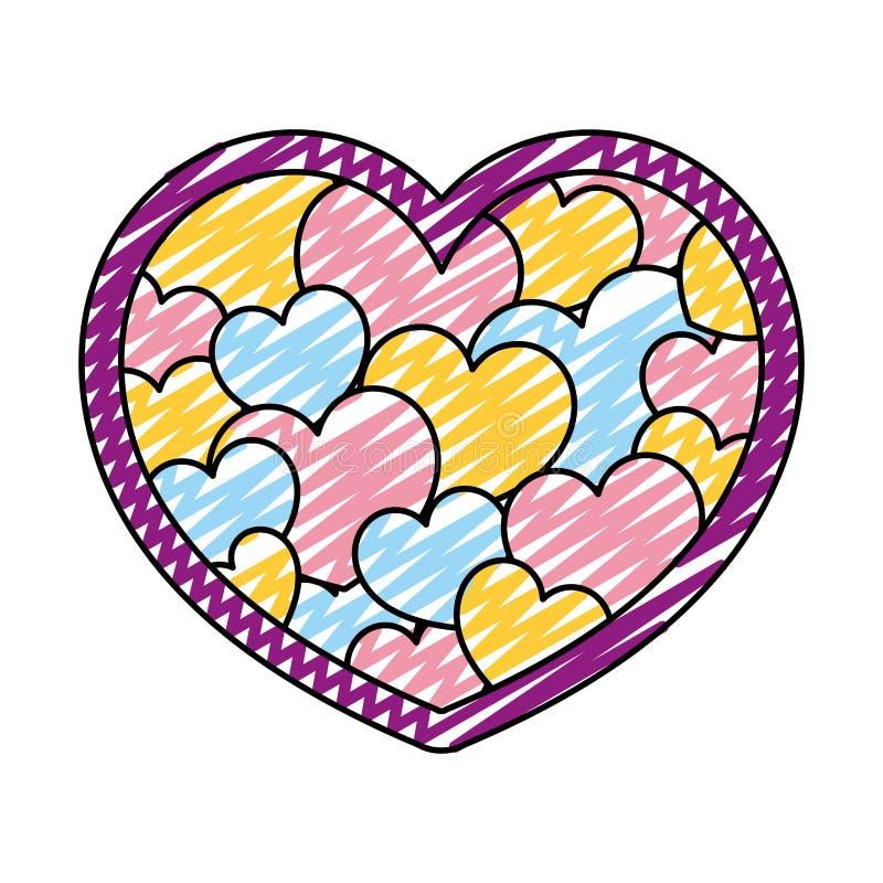 Style de décoration de symbole de coeur de beauté de griffonnage illustration stock