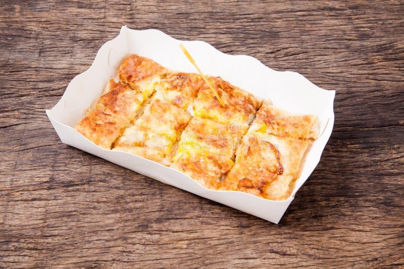 Style de dessert de Roti frit avec la banane photographie stock libre de droits