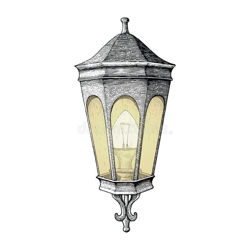 Style de gravure de dessin de main de lampe de route de vintage illustration de vecteur