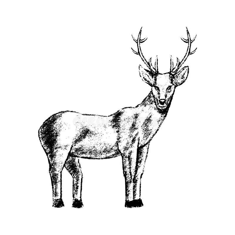 Style de grunge d'icône de cerfs communs illustration stock