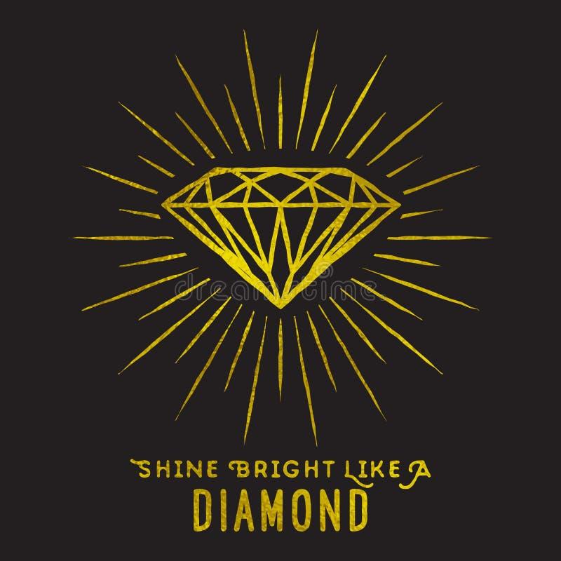 Style de hippie de forme de diamant sur la lumière d'étoile illustration stock