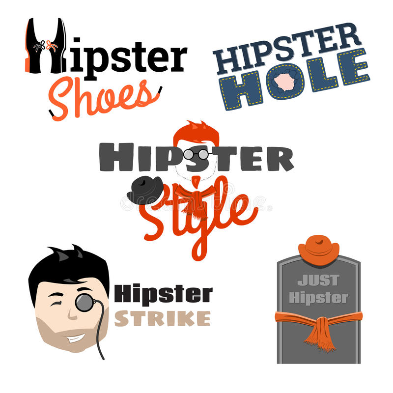 Style de hippie - ensemble d'emblèmes, illustration de vecteur illustration de vecteur