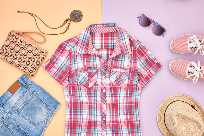 Style de hippie Vêtements de fille de mode d'été réglés photos libres de droits