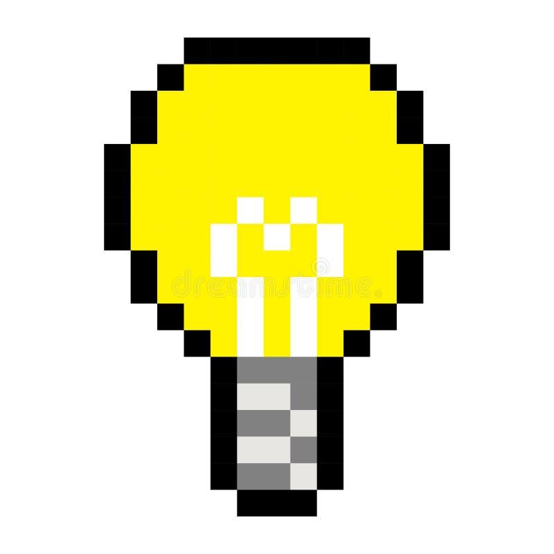 Style de jeu de bande dessinée d'art d'idée d'ampoule de pixel rétro illustration stock