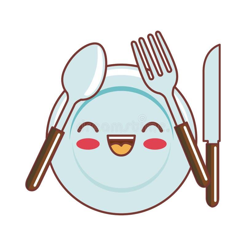 Style de kawaii de plat et de couverts illustration de vecteur illustration du signe assiette - Assiette dessin ...
