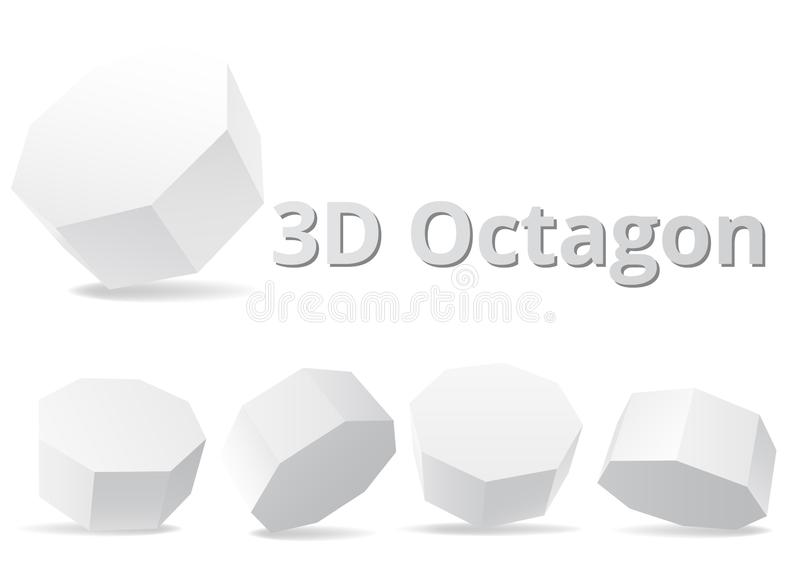 Style de la forme 3D d'octogone illustration stock