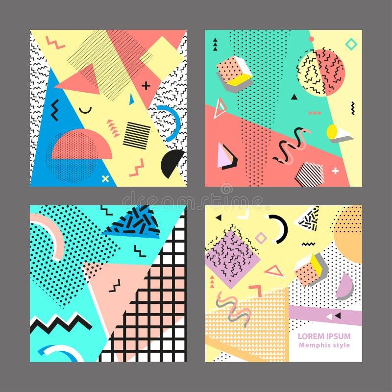 Style de la rétro mode 80s ou 90s de vintage Cartes de Memphis Grand positionnement Éléments géométriques à la mode Affiche abstr illustration de vecteur
