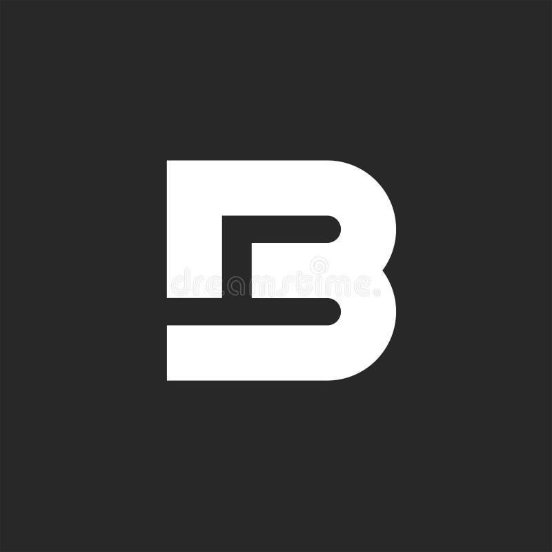Style de monogramme du logo B de lettre ou élément audacieux de conception de la typographie B4, maquette d'emblème illustration libre de droits
