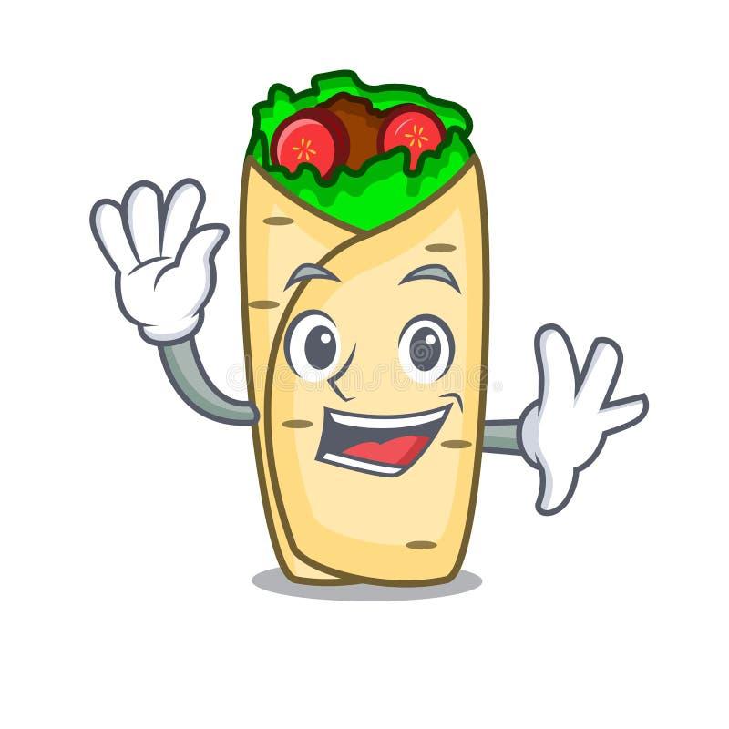 Style de ondulation de bande dessinée de caractère de burrito illustration stock