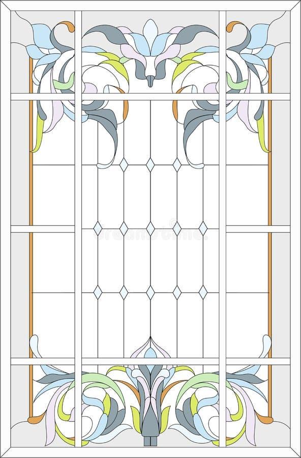 Style de panneau/Art nouveau de verre coloré illustration libre de droits