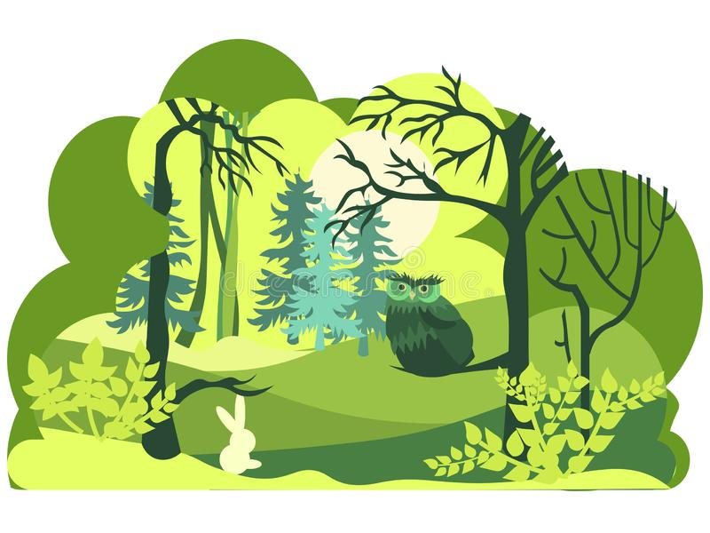 Style de papier d'art, de coupe et de métier de faune verte de forêt avec des couches de nature D'isolement sur le fond blanc Ani illustration stock