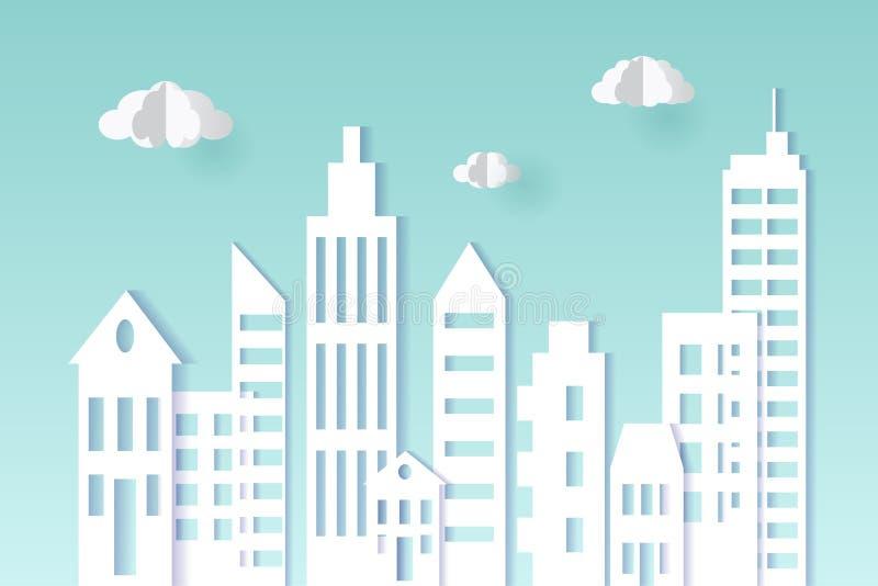 Style de papier d'art de paysage urbain Concept de ville Illustration de vecteur illustration libre de droits