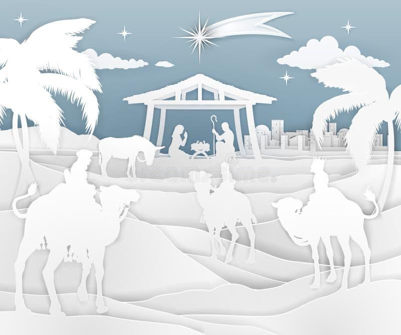 Style de papier de scène de Noël de nativité illustration de vecteur