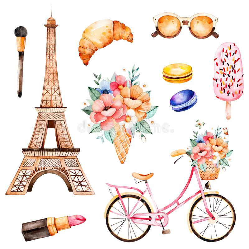 Style de Paris d'illustration d'aquarelle illustration libre de droits
