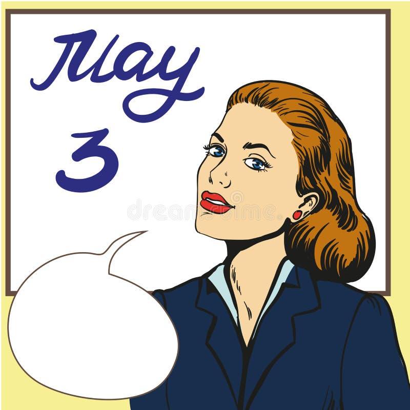 Style de tacher de femme d'affaires d'affiche au jour de tacher de tableau blanc illustration de vecteur
