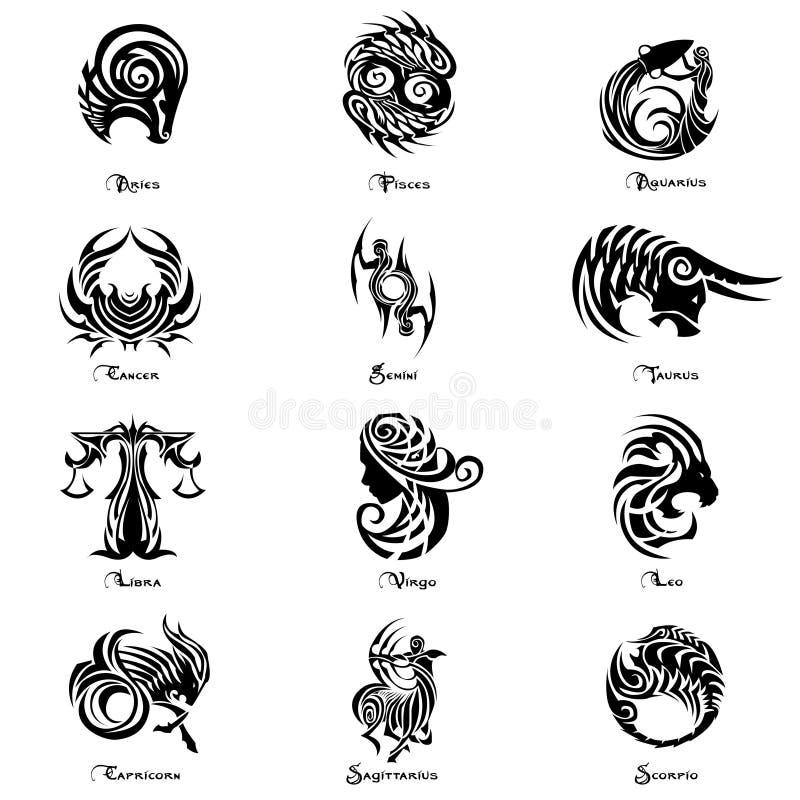 Style de tatouage d'ensemble complet de signe de zodiaque illustration de vecteur