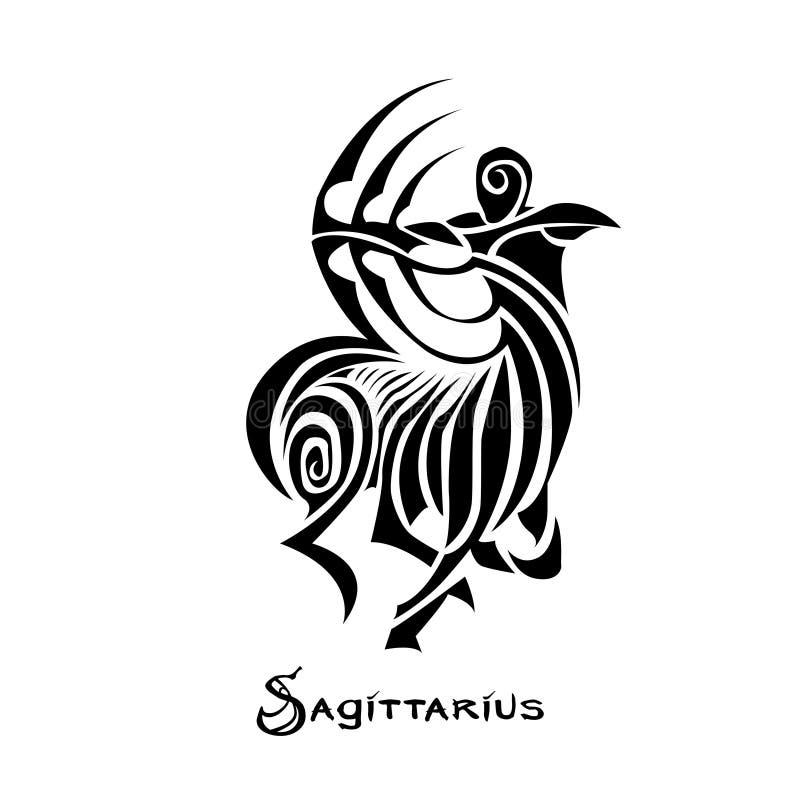 Style de tatouage de signe de zodiaque de Sagittaire illustration stock