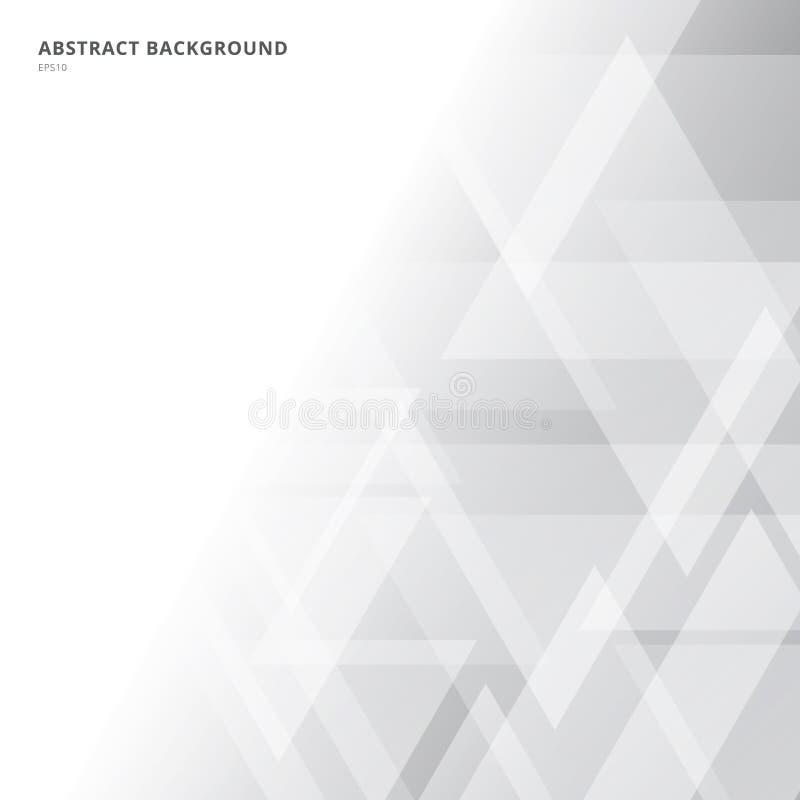 Style de technologie de fond de gradient de triangles blanc géométrique et gris de résumé illustration stock