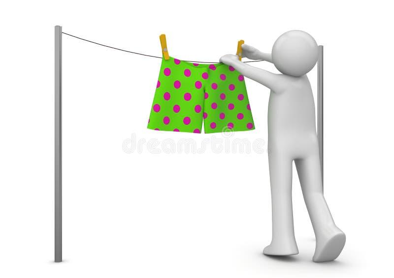 Style de vie - séchage des culottes illustration de vecteur