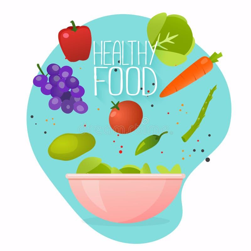 style de vie sain de concept Illustration de vecteur de faire cuire la salade avec le bol de nourriture légume et saine fraîche S illustration de vecteur