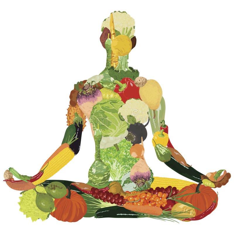 Style de vie sain Silhouette des légumes illustration stock