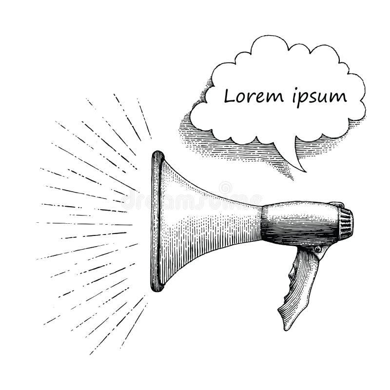 Style de vintage de dessin de main de mégaphone illustration libre de droits
