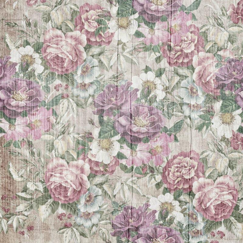 Style de vintage de modèle de fleurs de tapisserie sur le fond en bois illustration stock