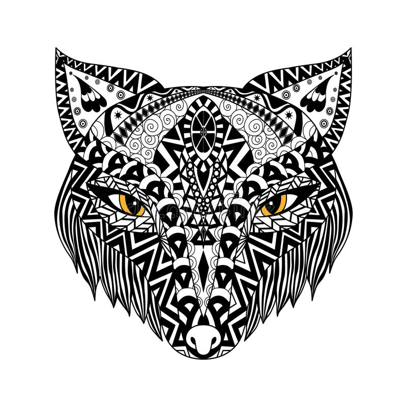 Style de zentangle de Fox noir pour le T-shirt ou la copie ou le livre de coloriage photographie stock libre de droits