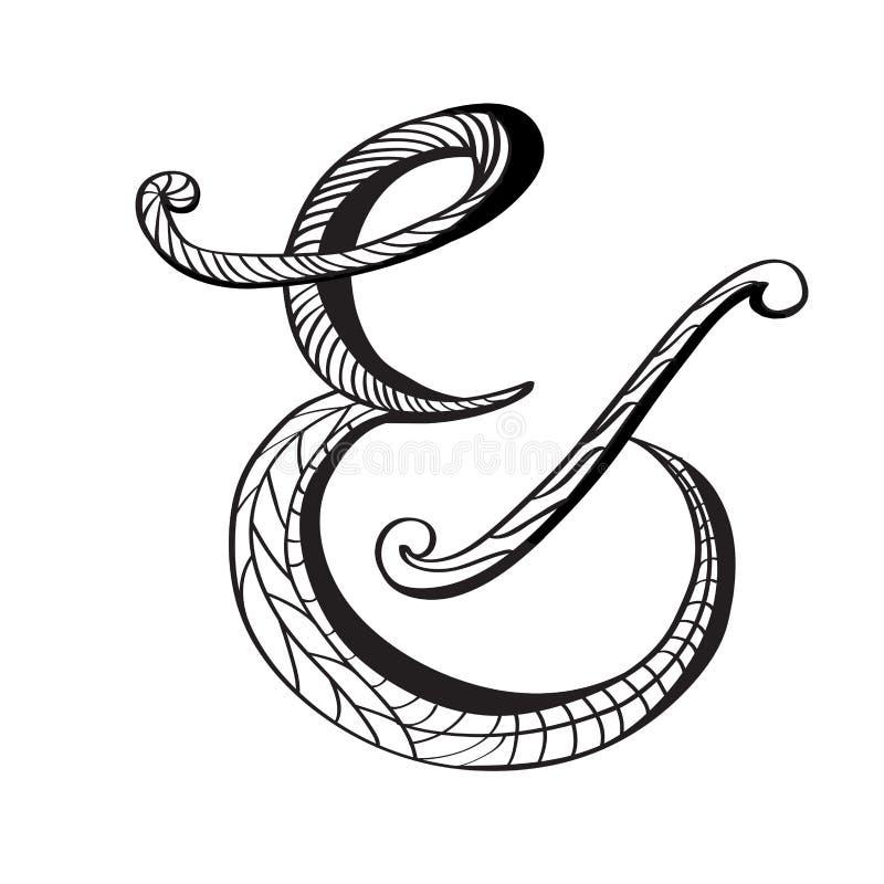 Style dessiné d'esperluète à disposition illustration stock