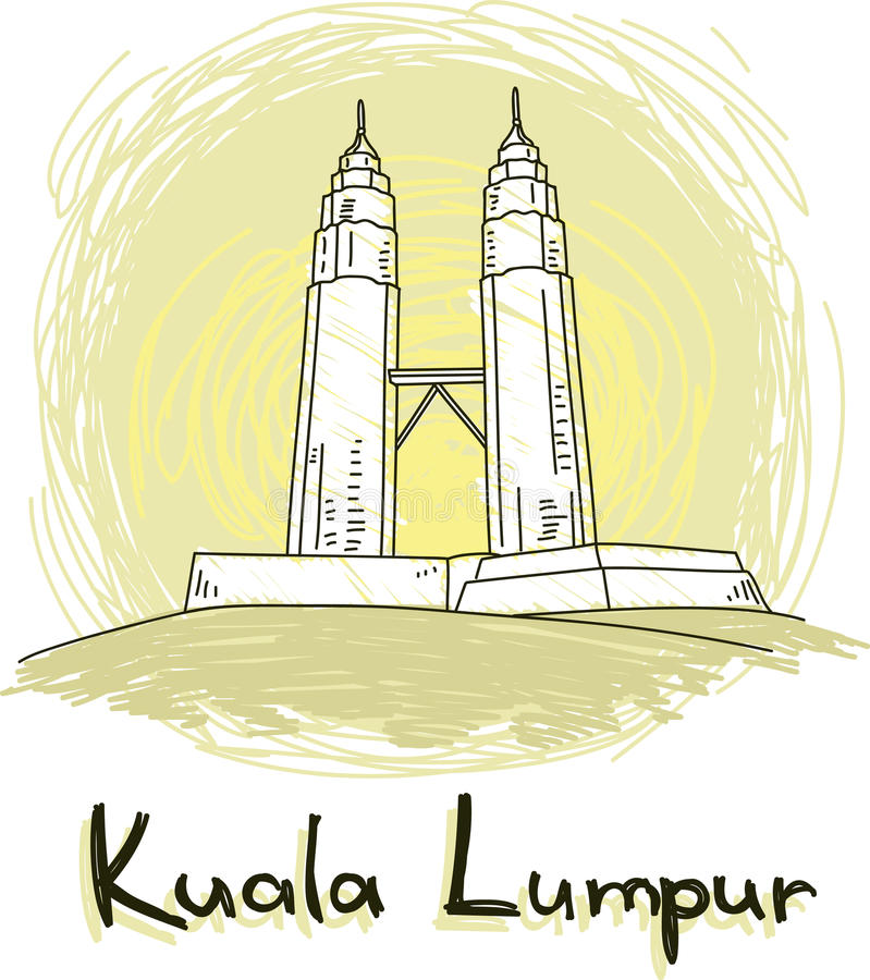 Style dessiné d'horizon de Kuala Lumpur à disposition illustration libre de droits