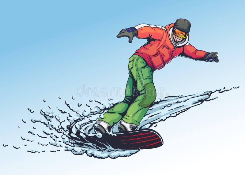 Style dessiné d'illustration de surfeur à disposition illustration libre de droits