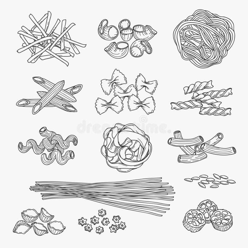 Style dessiné de pâtes à disposition illustration libre de droits