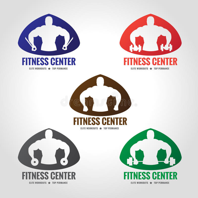 Style du logo 5 de centre de fitness (la force musculaire et l'haltérophilie des hommes) illustration stock