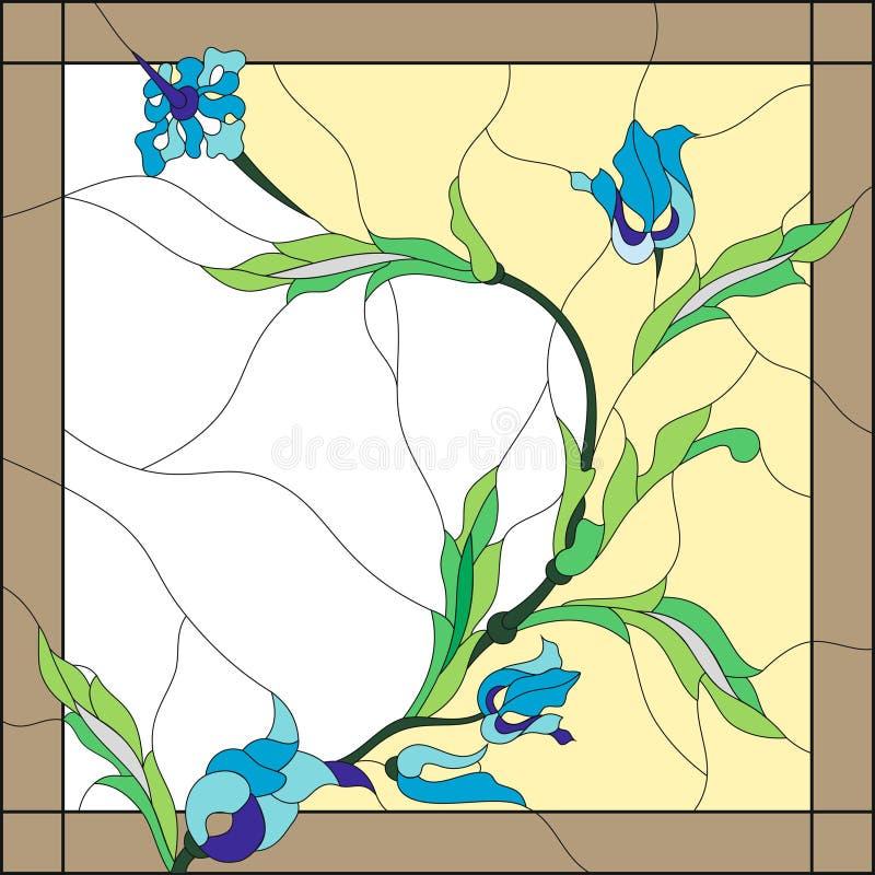 Style en verre souillé avec les fleurs bleues abstraites Trame carrée Style classique illustration stock