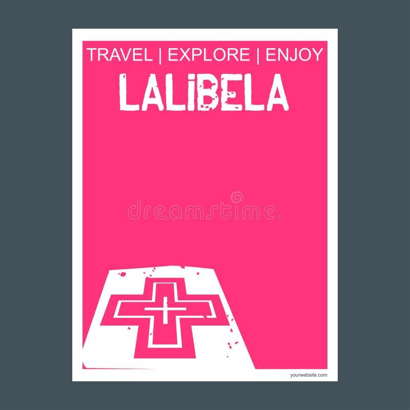 Style et type plats de brochure de point de repère de monument de Lalibela, de l'Ethiopie illustration libre de droits