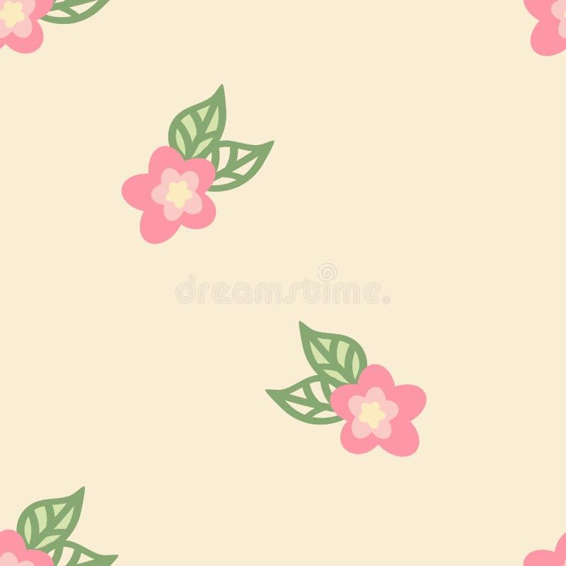 Style floral sans fin de griffonnage de tuile sur le fond jaune illustration libre de droits