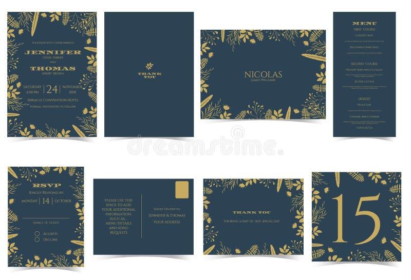Style formel de carte d'invitation de mariage Bleu-foncé et goldtone illustration libre de droits