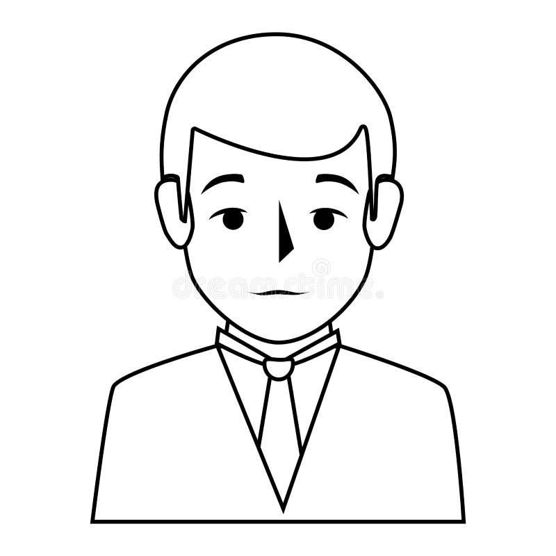 Style formel de demi homme de corps de silhouette illustration libre de droits