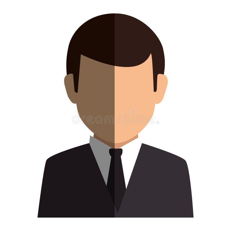 Style formel de silhouette de demi homme sans visage coloré de corps illustration libre de droits