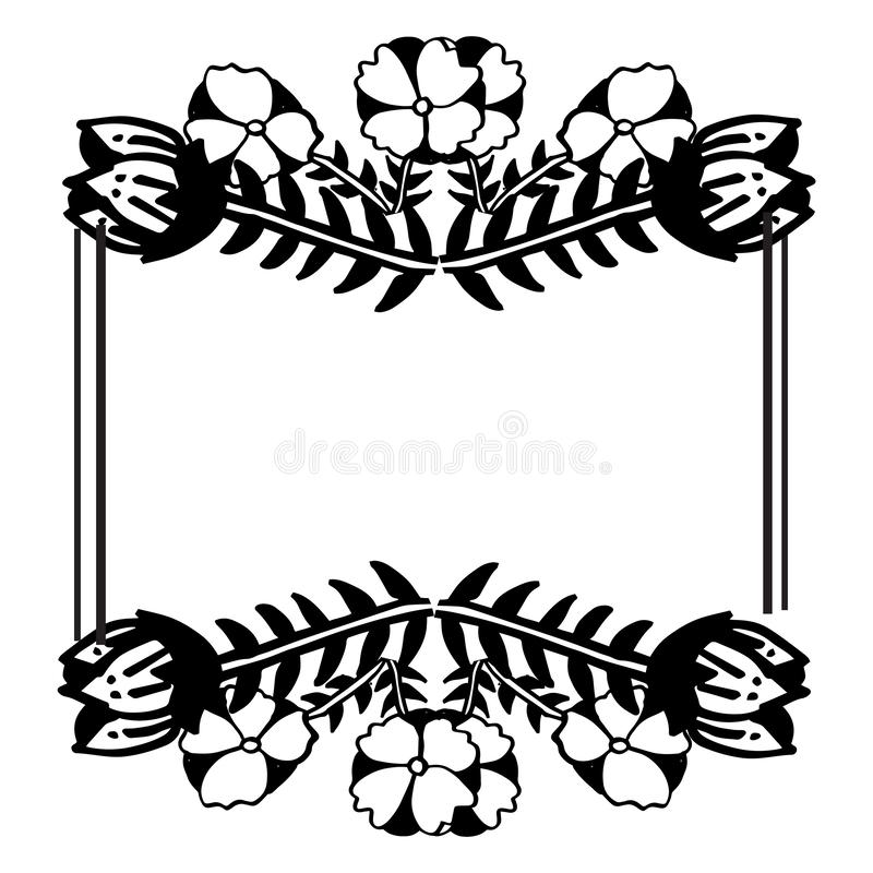 Style frame with various flower and leaf, wallpaper of greeting cards. Vector stock illustration