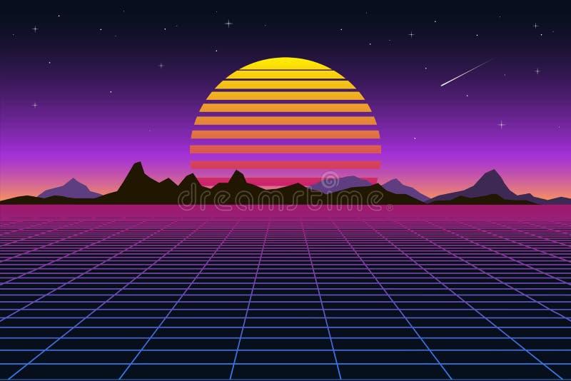 Style futuriste des années 1980 de paysage de rétro fond Rétro surface de cyber de paysage de Digital Rétro couverture d'album de illustration libre de droits