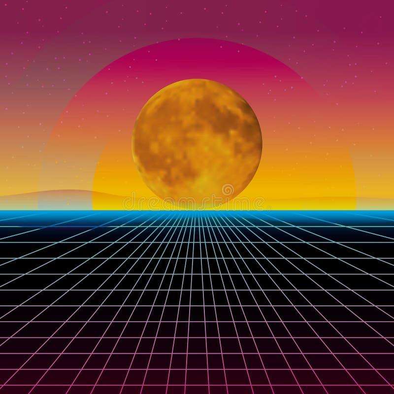 Style futuriste des ann?es 1980 de paysage de r?tro fond. R?tro surface de cyber de paysage de Digital. Modèle de présentation d illustration de vecteur