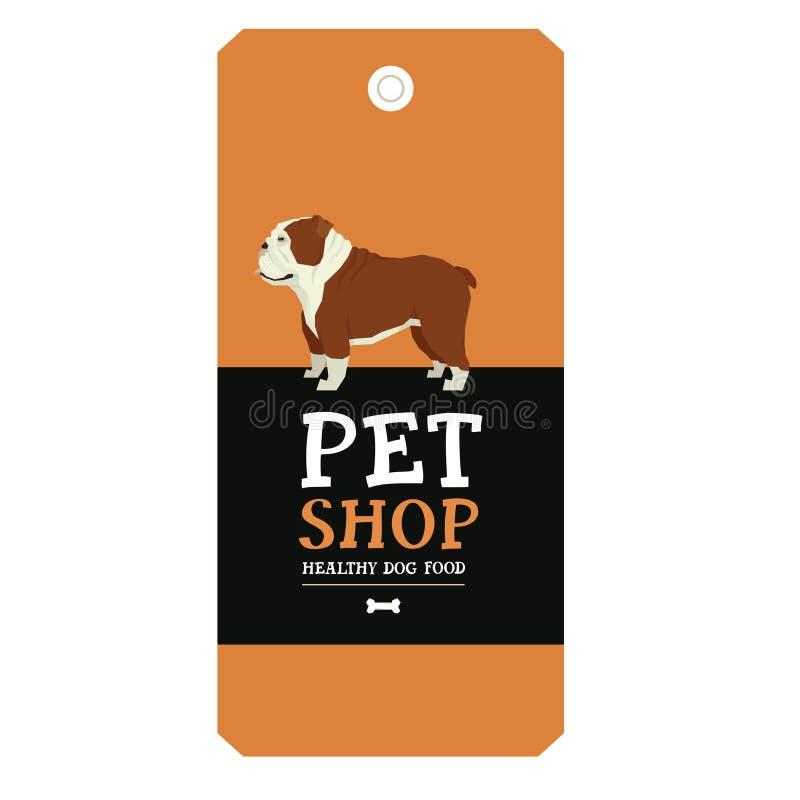 Style géométrique de bouledogue anglais de label de conception de magasin de bêtes d'affiche illustration stock