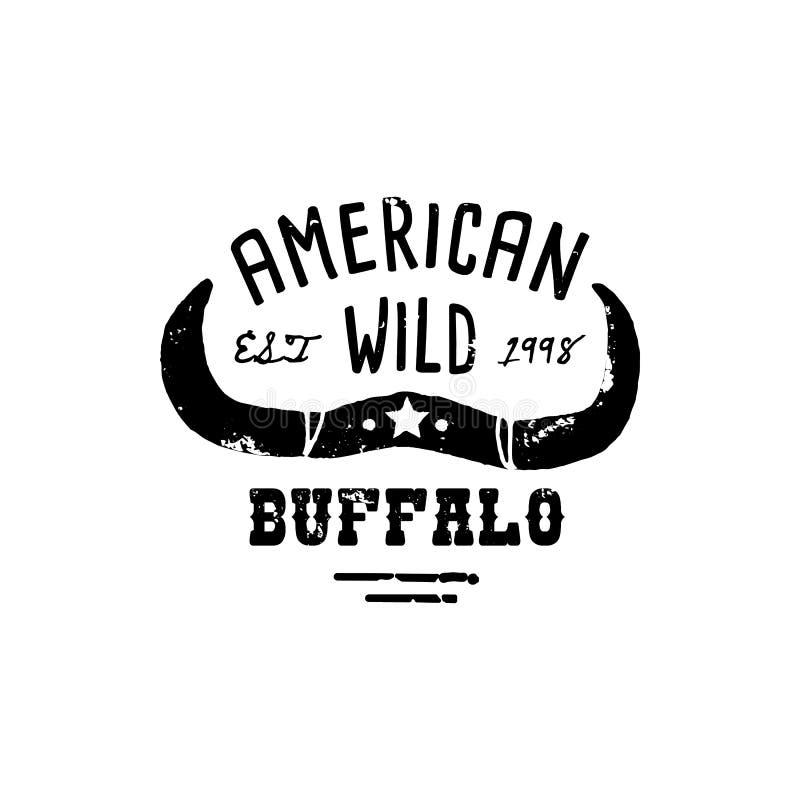 Style grunge de Logo Skull Buffalo d'aspiration occidentale de t?te Le symbole occidental sauvage chantent des klaxons et de la r illustration de vecteur