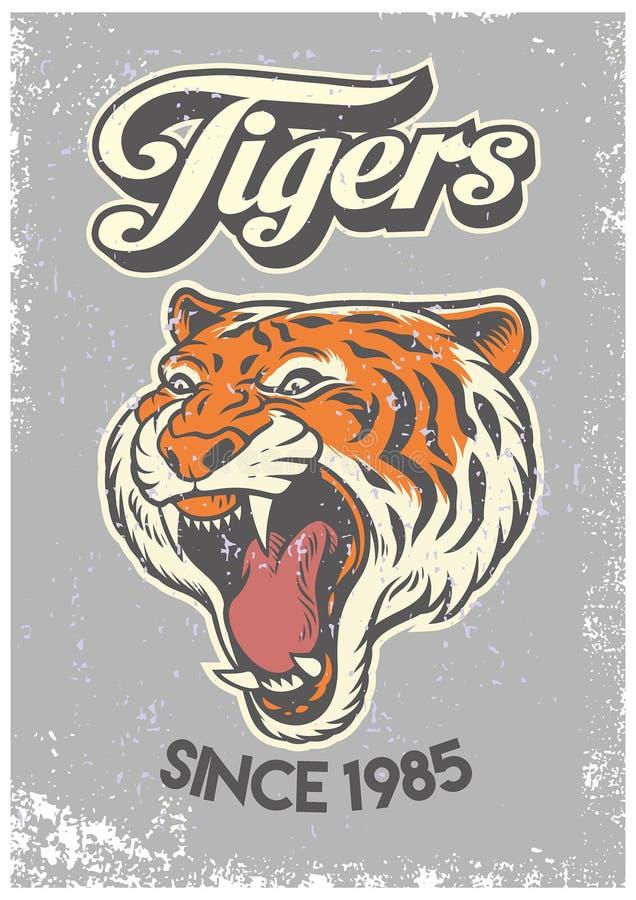 Style grunge de vintage d'affiche d'université de tête de tigre illustration de vecteur